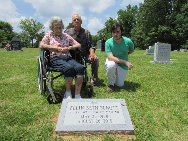 Lenoir Reinhard, Ellin's mother, Michael, her ex-husband, and Jacob, her son, during a recent visit to her grave.
