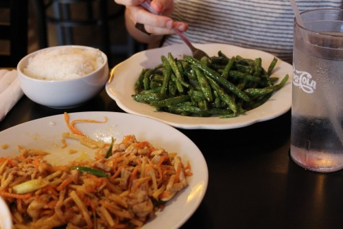 The stir-fried green beans and the pork