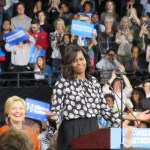 First lady pumps Democratic voters in first campaign stop with Clinton