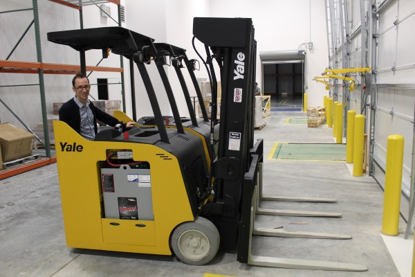 Soucy trying out one of the new standing forklifts.