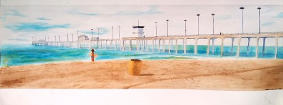 Huntington Beach Pier: Watercolor on Cold Press paper
