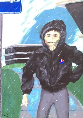 Waiting for bus in rain- seeing the Edvard Munch Exhibit: Acrylic on Masonite