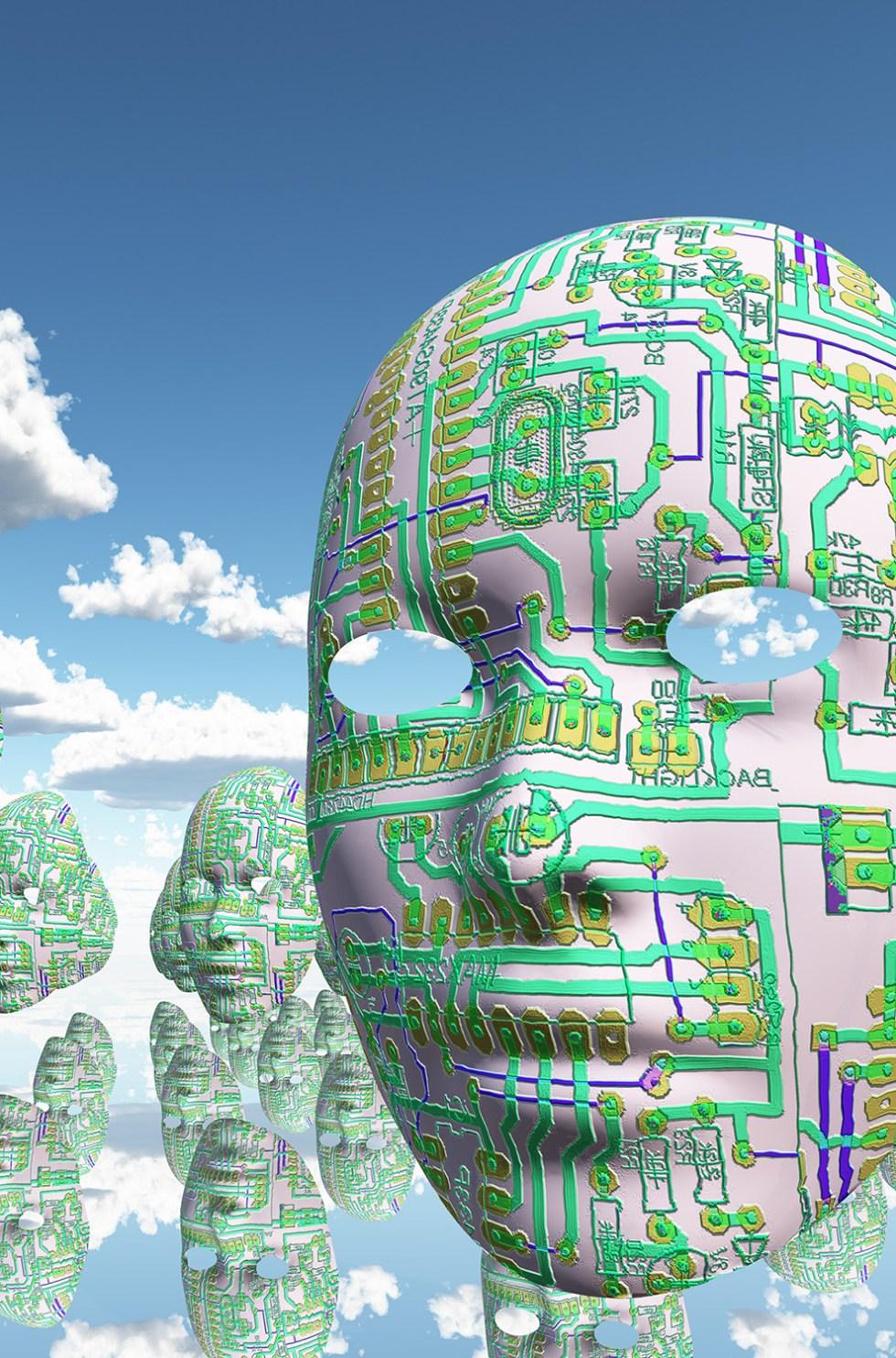 Electronic circuit faces in quiet surreal landscape