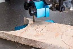 cutting out button blanks on bandsaw