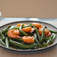 Sambal green beans with prawn