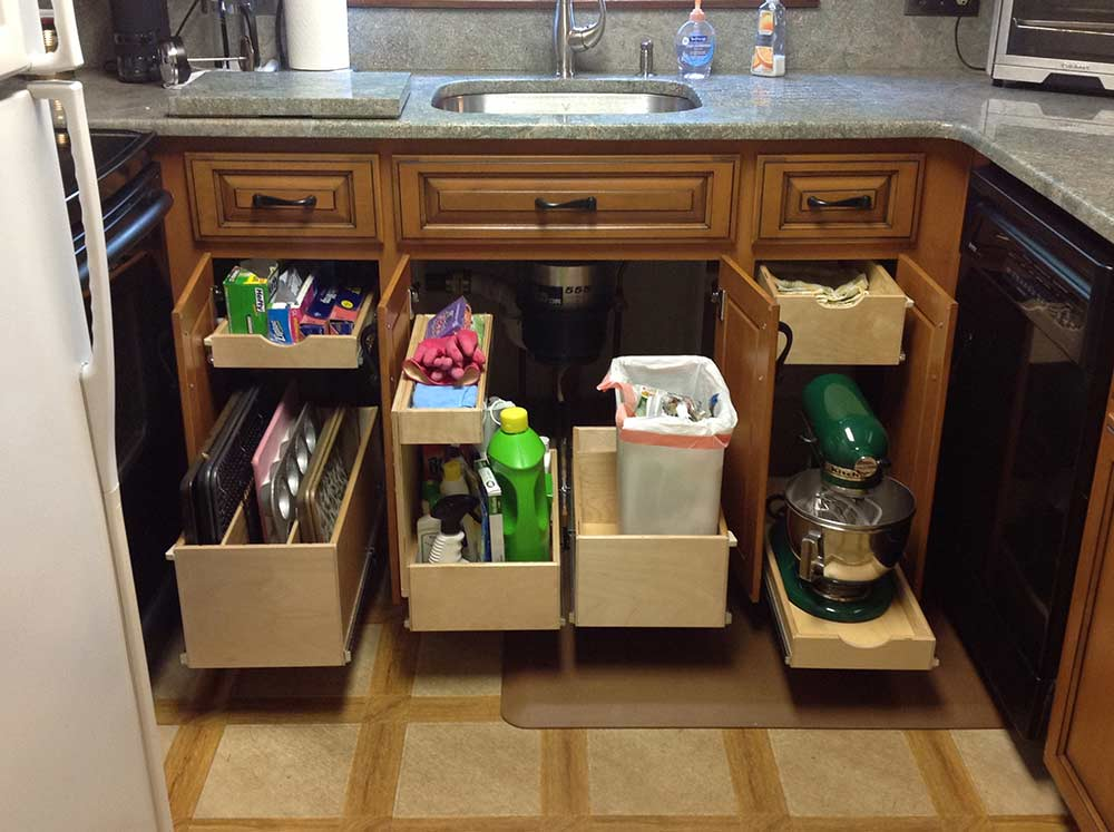 pullout drawers under sink kitchen