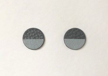 gray bicolor cow leather circle earrings