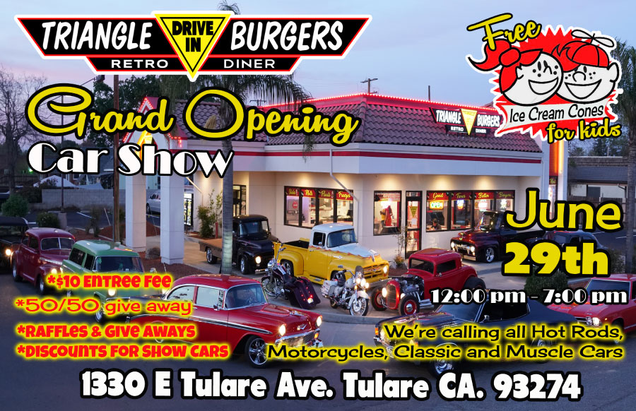 June 29th, 2020, Grand Opening Car Show at Triangle Drive In in Tulare, CA