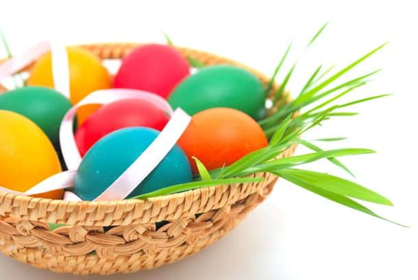 Easter Basket Over Uniform Background