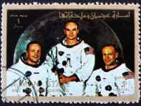 Ajman Circa 1973 A Stamp Printed In The Ajman Shows Crew Of Apollo 11 Neil Armstrong Buzz Aldrin And Michael Collins Moon Landing Apollo 11 Ci