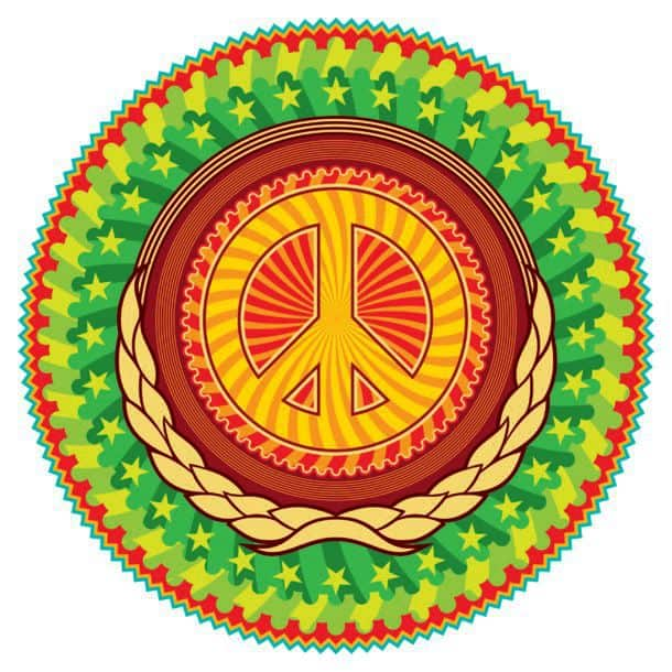 Colorful Psychedelic Hippie Emblem With Peace Sign