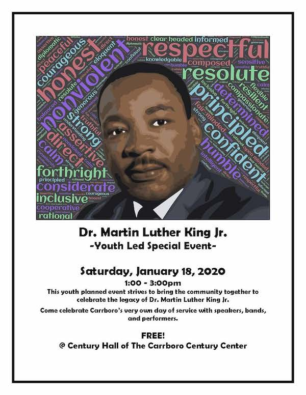 Dr. Martin Luther King Jr. Special Events in Carrboro -- speakers, bands, performers, park opening