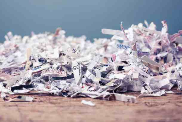 paper cut into tiny pieces by shredder
