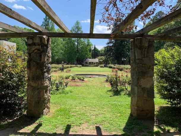 View of Raleigh Rose Garden from stone arbor
