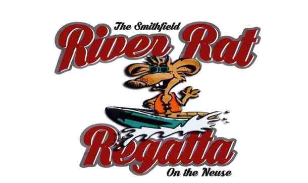 Logo for Smithfield River Rat Regatta. A cartoon rat on a boat with the words River Rat Regatta