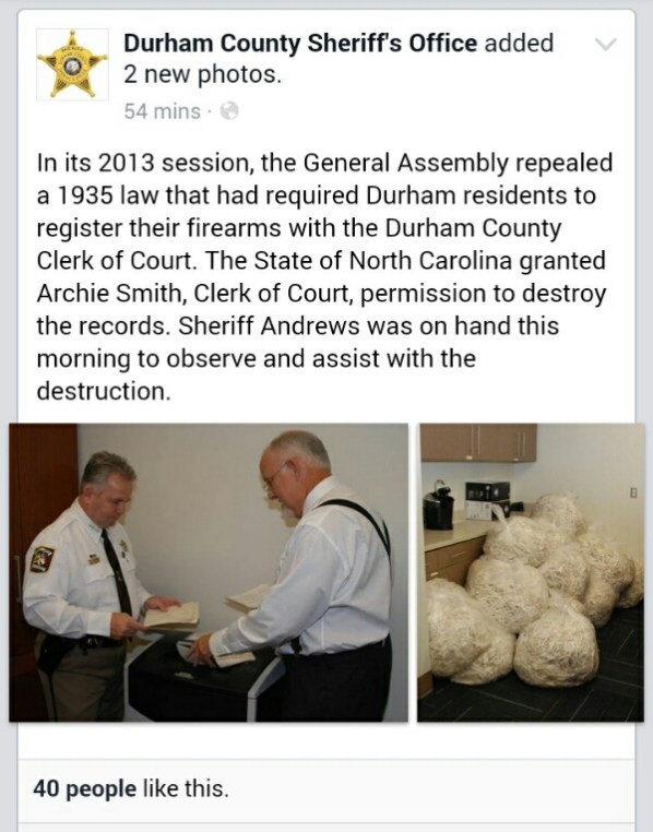 BREAKING: Durham County Shreds Gun Registry!   Triangle Tactical