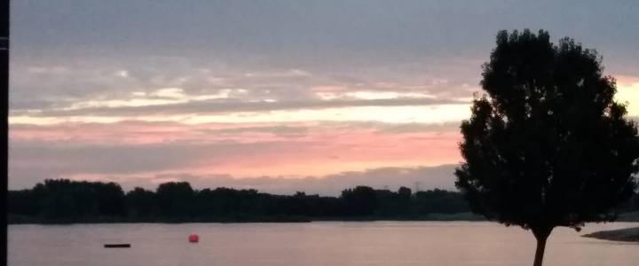 Morning sunrise over swim start