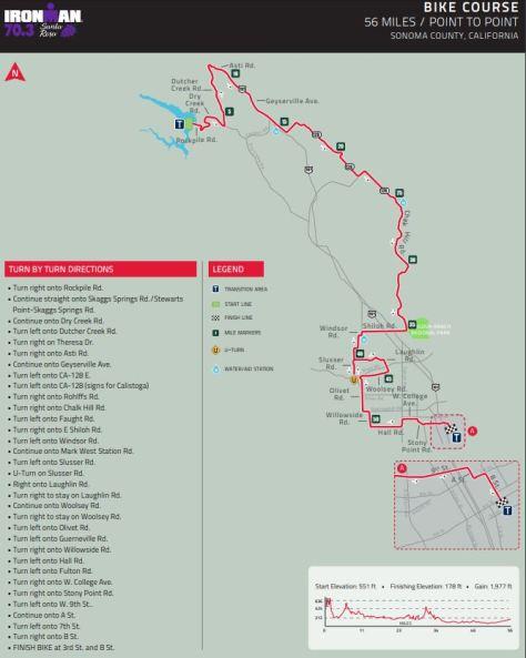 IronMan 70.3 Santa Rosa bike course