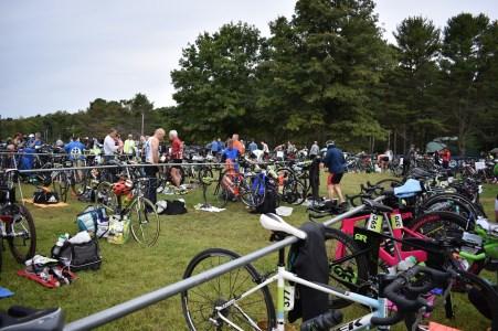 Setting up a triathlon transition area