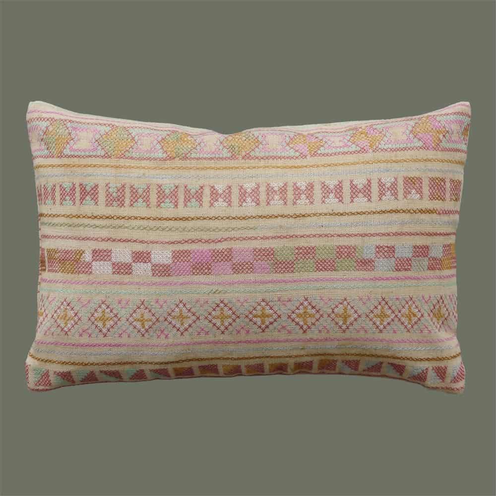 akha embroidered lumbar pillow