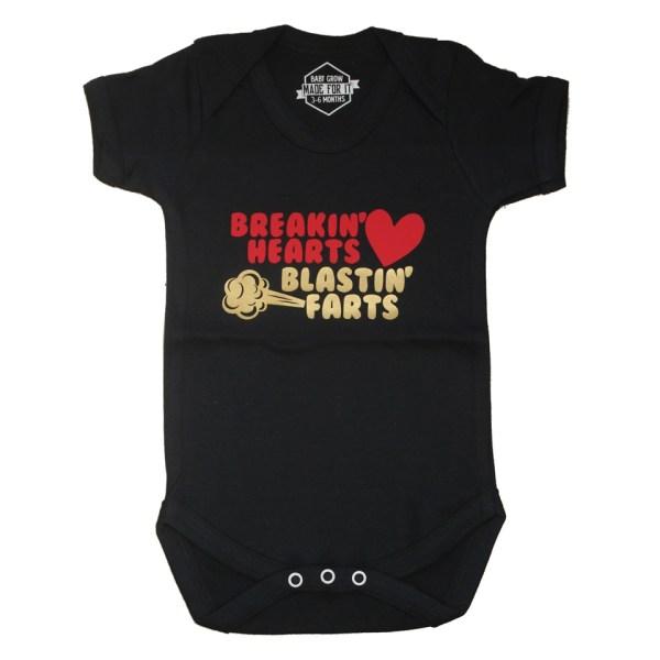 Breaking Hearts, Blasting Farts Baby Grow Onesie