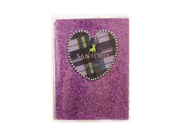 Santoro Gorjuss Tartan Mini Glitter Laminated Notebook The Dark Streak