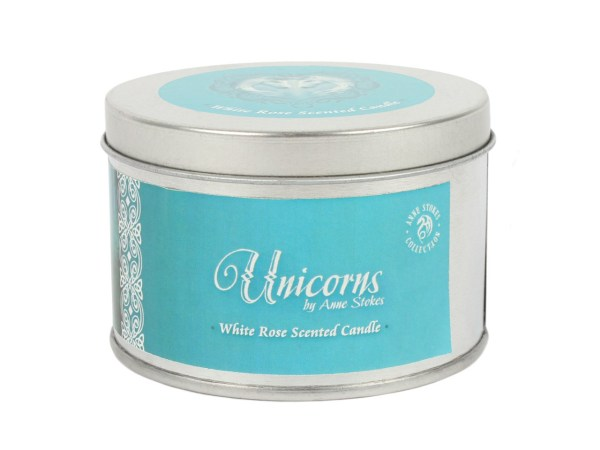 Forest Unicorn Tin Candle White Rose Anne Stokes