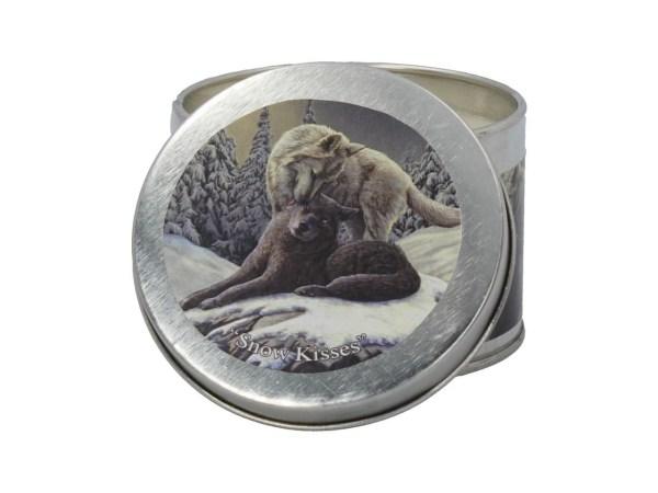 Snow Kisses Lisa Parker Wolves Tin Candle Winter Breeze Nemesis Now