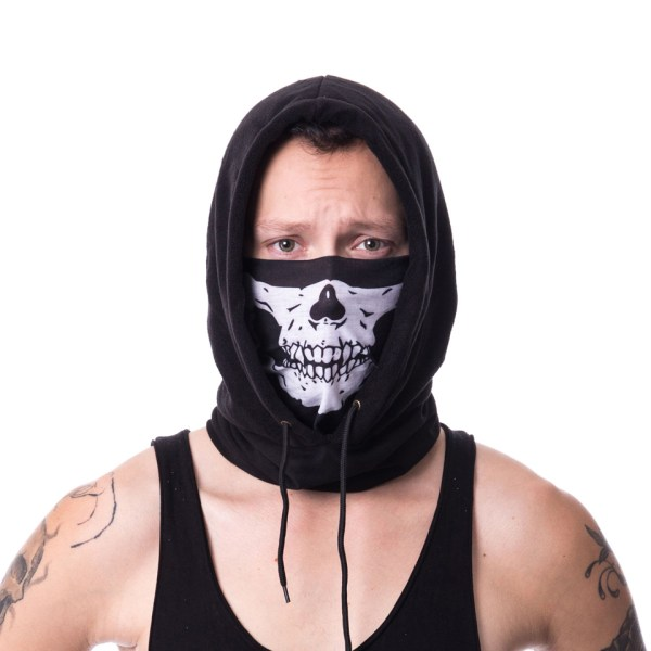 Skull Skeleton Jaw Face Snood Mask Poizen Industries Hoodie Hooded