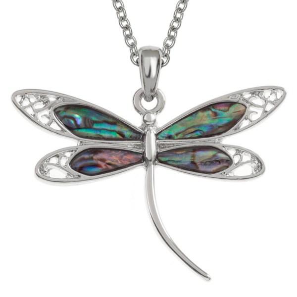Paua Shell Purple Blue Green Pink Filigree Dragonfly Pendant Necklace Rhodium Chain Tide Jewellery Talbot Fashions Organic New Zealand Sea Opal