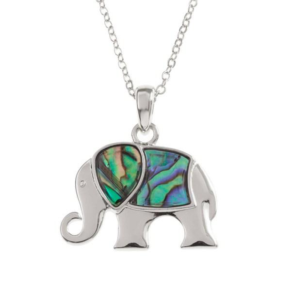 Paua Shell Purple Blue Green Elephant Pendant Necklace Rhodium Chain Tide Jewellery Talbot Fashions Organic New Zealand Sea Opal