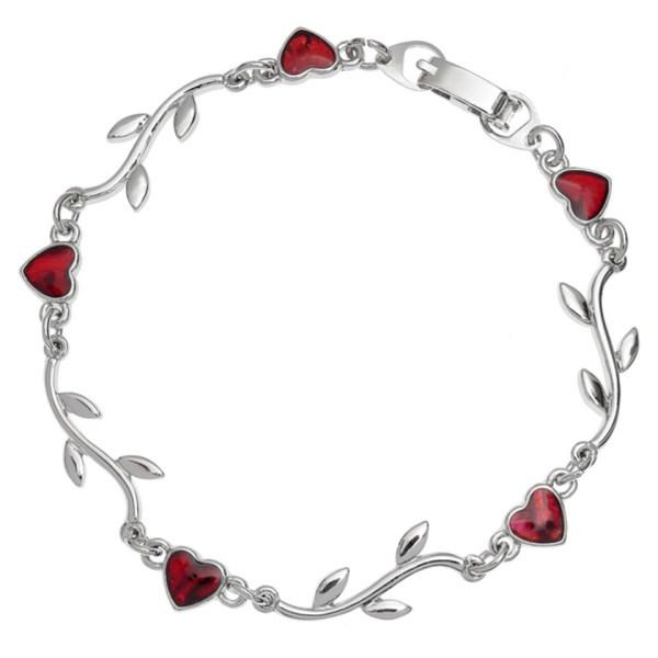 Paua Shell Red Heart & Branch Bracelet Rhodium Chain Tide Jewellery Talbot Fashions Organic New Zealand Sea Opal