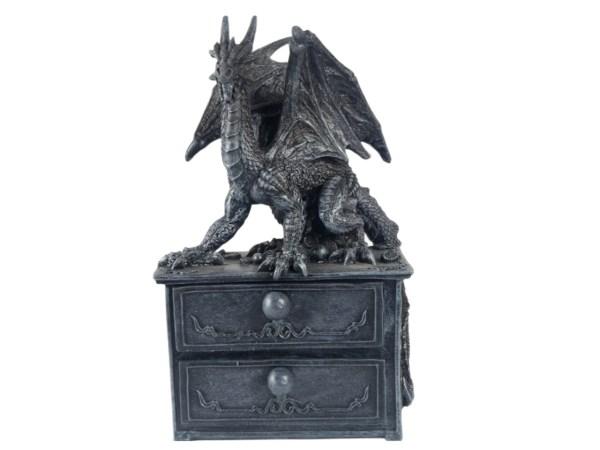 Dragon 2 Drawer Chest Trinket Box Home Decor Distressed Antique Fantasy Gothic J J Vaillant Storage