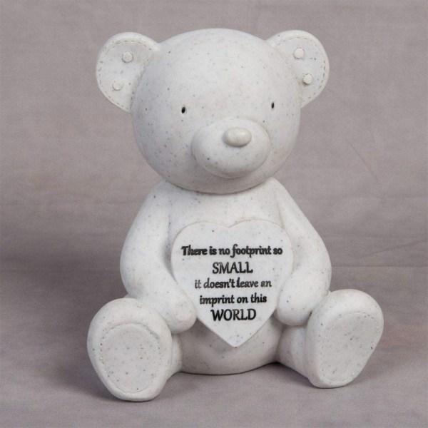 Teddy & Heart Memorial Plaque Shape Resin Stone Widdop Graveside Gift Bear