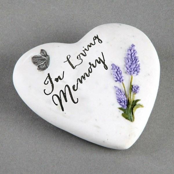 In Loving Memory Small Memorial Plaque Heart Shape Resin Stone Widdop Graveside Gift Lavender Butterfly