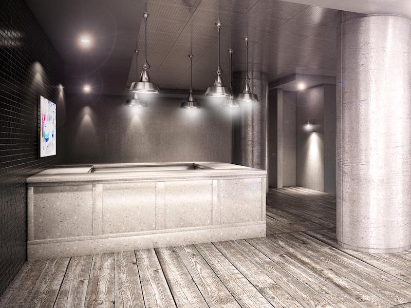 This grey and earth tones design concept is perfectly suited to serve as an entry or gathering area in any high-end gym or luxury fitness facility.
