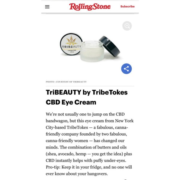 Published article on TribeTokes CBD Skincare Bundle in RollingStone