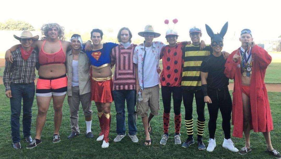 FUHS Varsity Baseball on in their costumes for the Halloween game on Oct. 31.