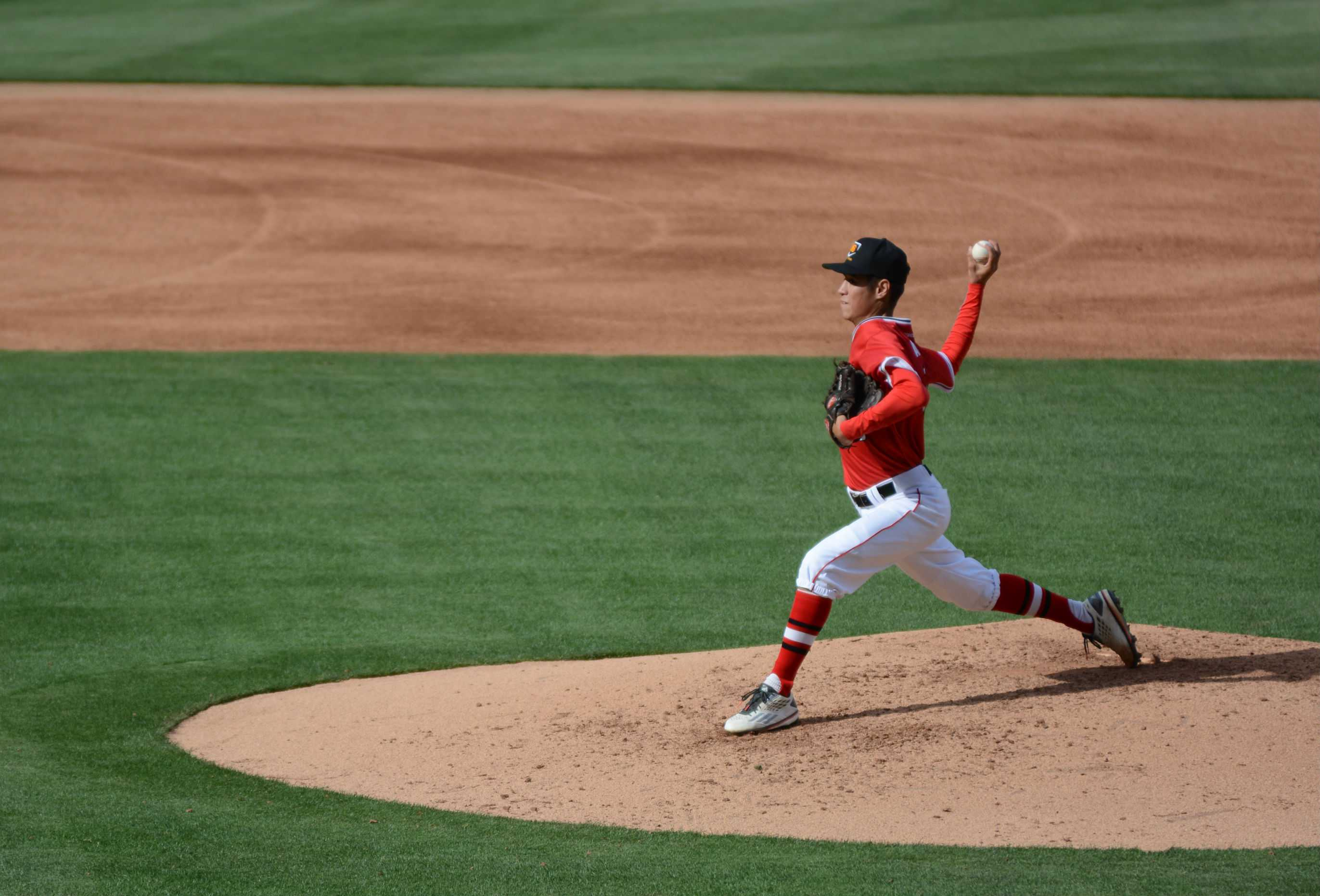 Senior Ben Angotti pitching at Angel's Stadium on Mar. 22.