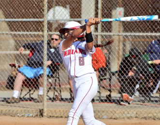 Junior Alexia Silvas at bat. Photo by Patrick Takkinen.