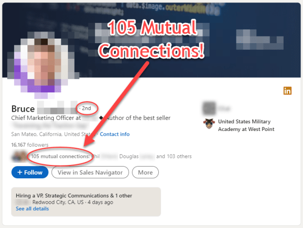 Top connection target: 105 mutual connections!