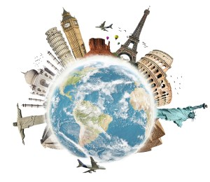 Travel the world monuments concept 3