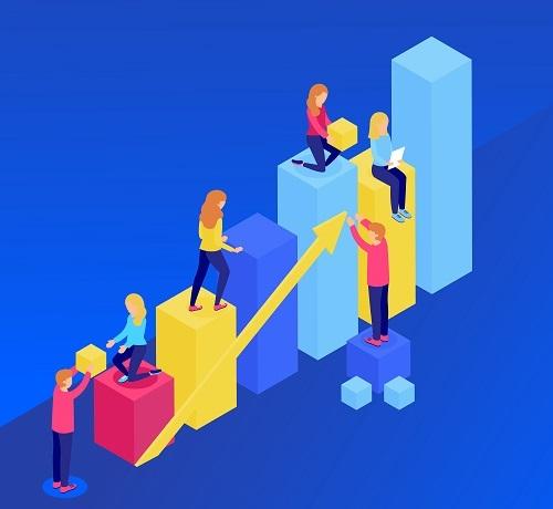 Un colectivo ayudándose entre unos a otros para llegar más alto en una tabla de barras.