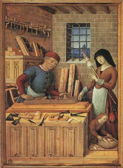 Imagen de un taller gremial medieval, donde nuestra historia sobre la plusvalía comienza.