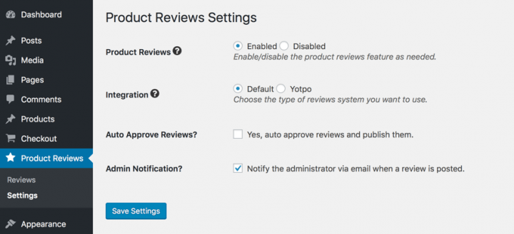 Product Reviews Settings