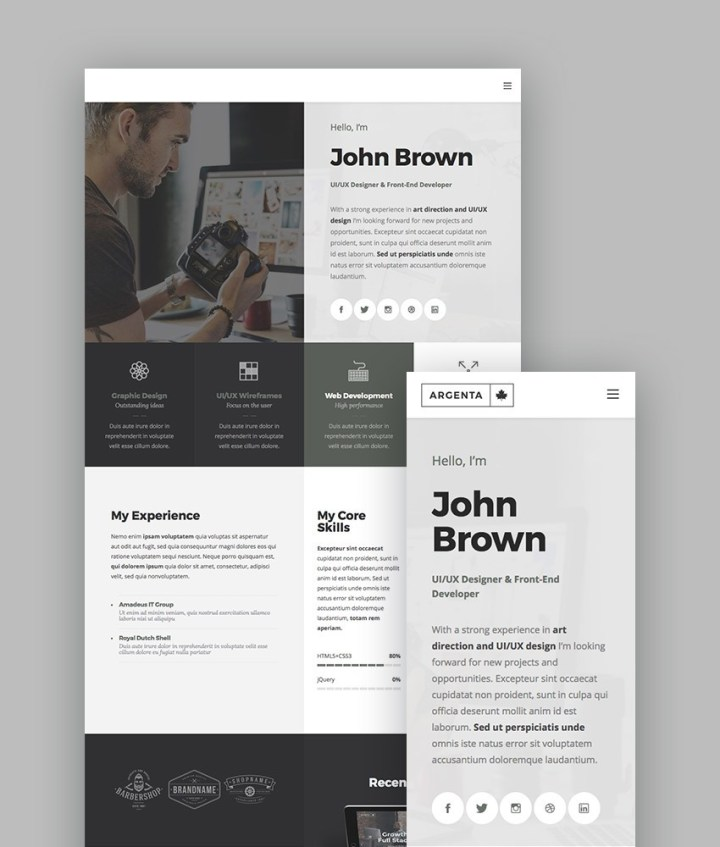 Argent WordPress Portfolio Theme