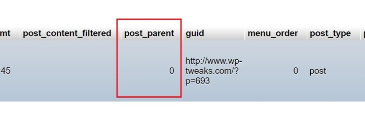 wordpress post_parent