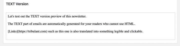 WordPress Newsletter plugin TEXT version preview