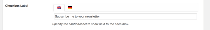 WooCommerce Subscribers checkbox label