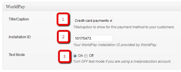 WorldPay configuration settings